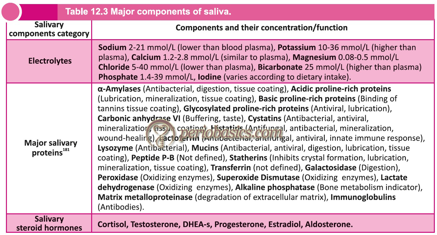 Major components of saliva.