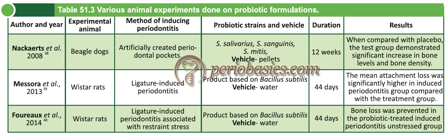 Various animal experiments done on probiotic formulations