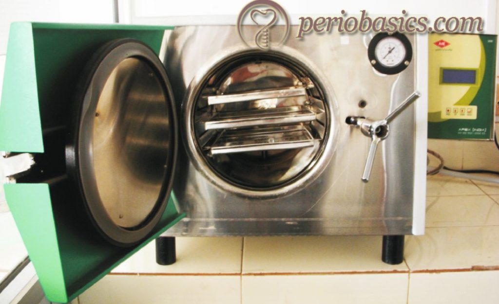 Front loading autoclave with dry cycle.