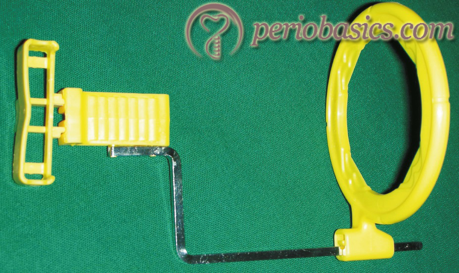 The positioning device used to hold the sensor in paralleling radiographic technique
