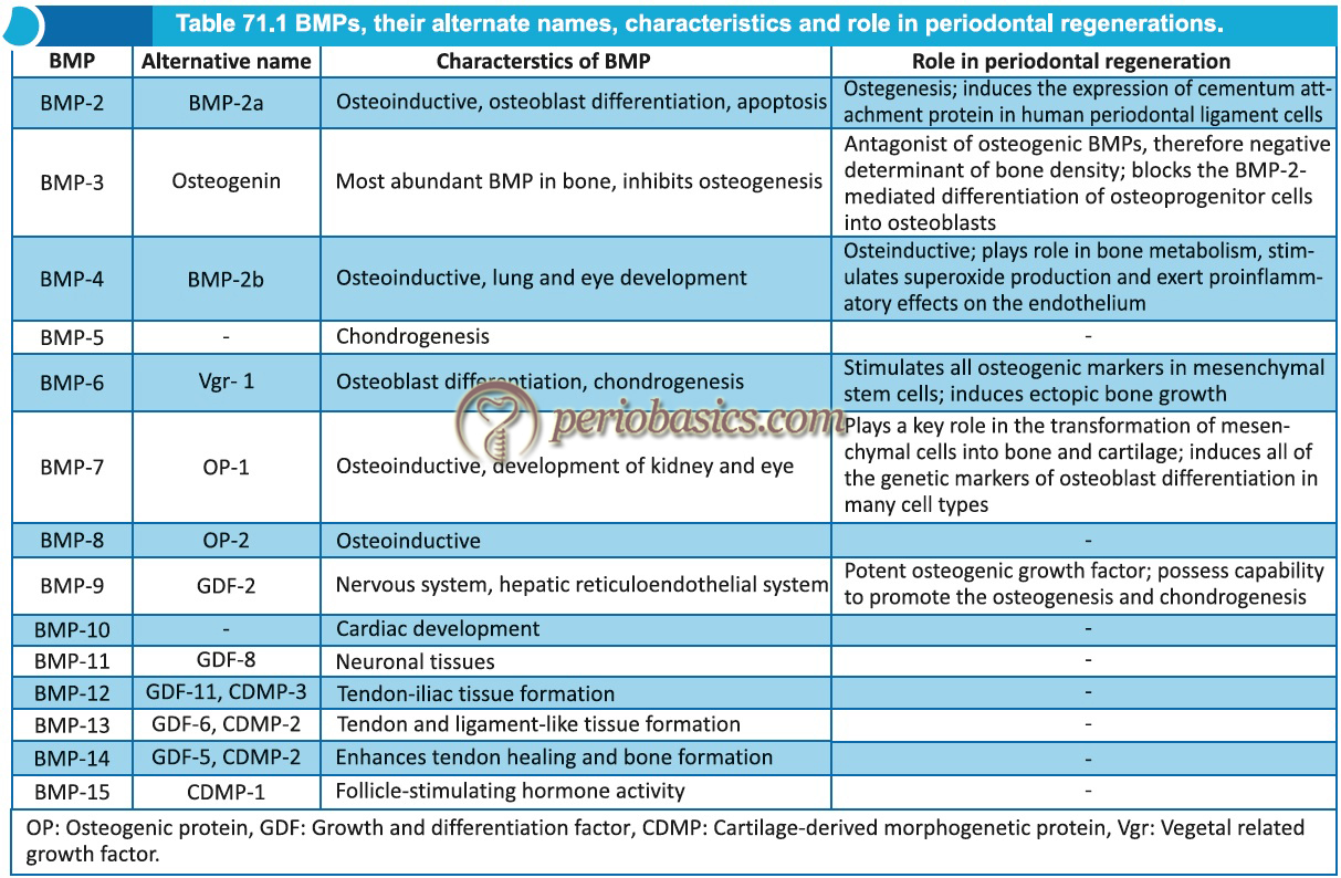 BMPs, their alternate name, characteristics and role in periodontal regeneration